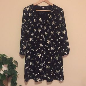 Old Navy Pintucked Button-Front Floral Swing Dress